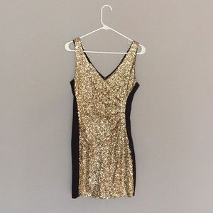 Sequined gold dress